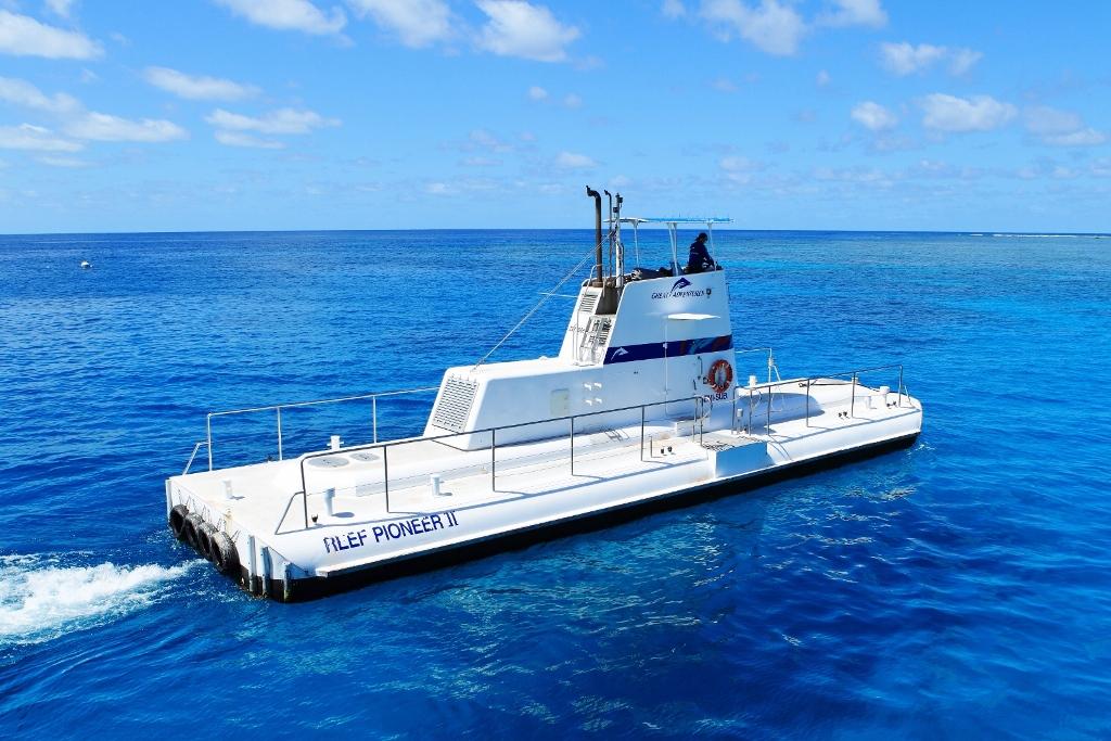 <p>泳ぐのが苦手という人には半潜水艦がおススメ。船体の半分が水面下にありガラス窓から海の中を見ることが出来る。窓の外に広がる移りゆく大サンゴ礁の景色に大興奮。また、艦内では生物の説明もしてくれるのがありがたい。</p>