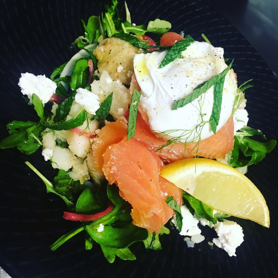 <p>Special smoked salmon and goats cheese salad with fennel and minted potatoes</p>