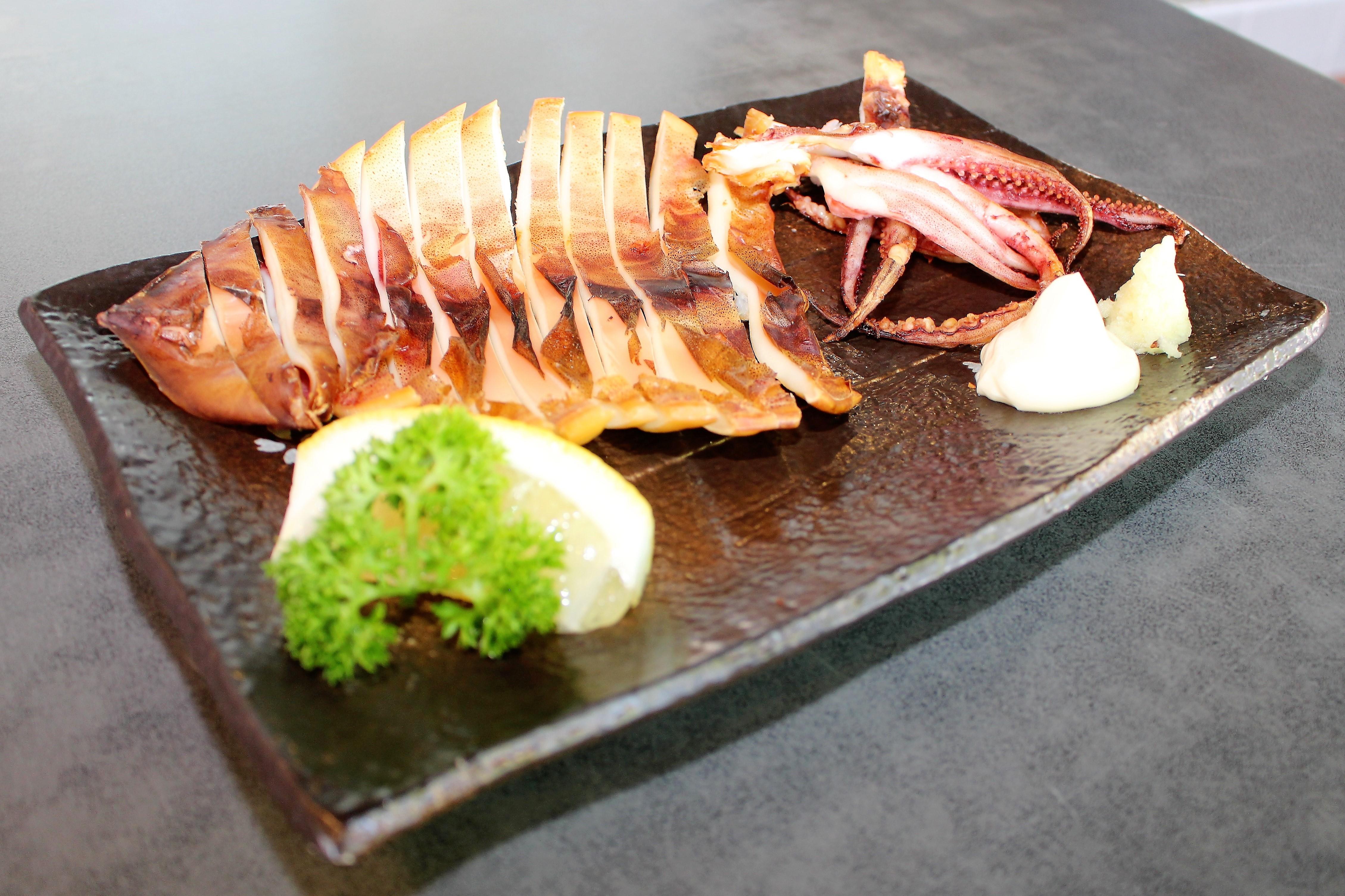 <p>イカの一夜干し</p> <p>Grilled Squid $15.00</p>