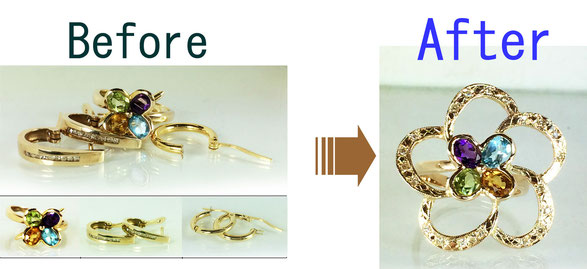 <p>指輪のサイズ変更、宝石の留め直しなどのジュエリーの修理も行っています。今あるジュエリーの姿をそのまま生かして少し 作り替えるリメイクもおすすです。</p>
