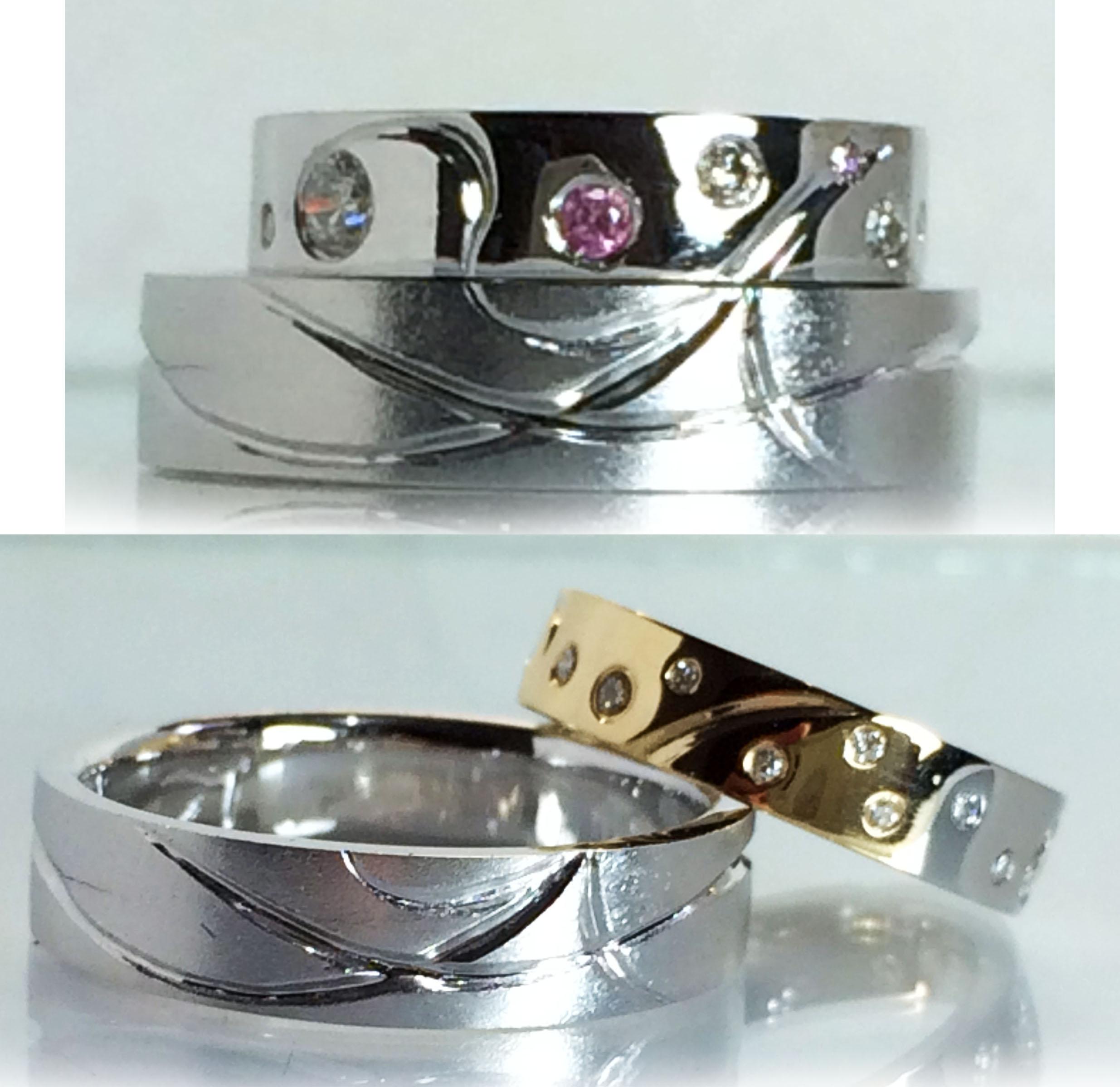 <p>デザインの仕上がりがコチラ!世界で1つだけのオリジナル結婚指輪の完成!</p>