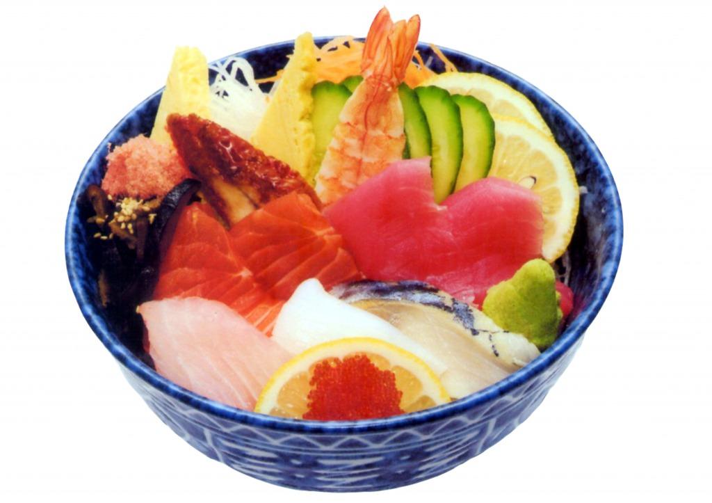 <p>見た目も美しい海鮮丼</p>